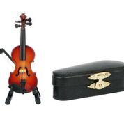 Geige mit Bogen 8 cm  mit Standfuß & Geschenkbox