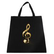 City Shopper,  Einkaufstasche, Notentasche mit Violinschlüssel golden/silber Wendepailletten